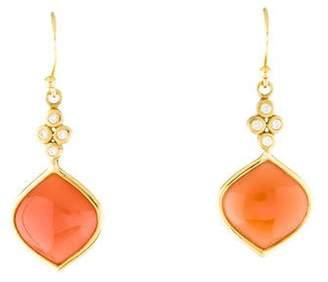Elizabeth Showers 18K Moonstone & Diamond Drop Earrings