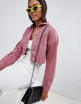 Missguided Cropped Denim Jacket In Rose