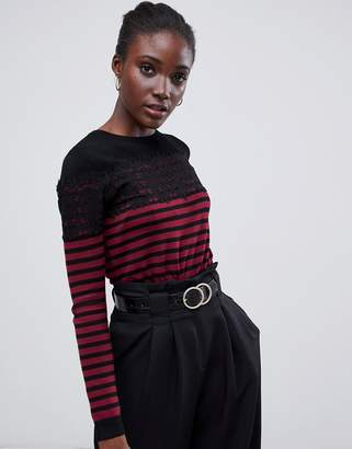 Warehouse sweater with lace panel in black and red stripe