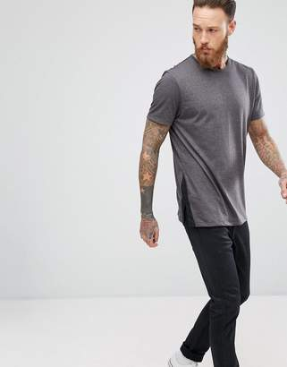 Asos Design Relaxed Longline T-Shirt With Side Split Contrast Detail