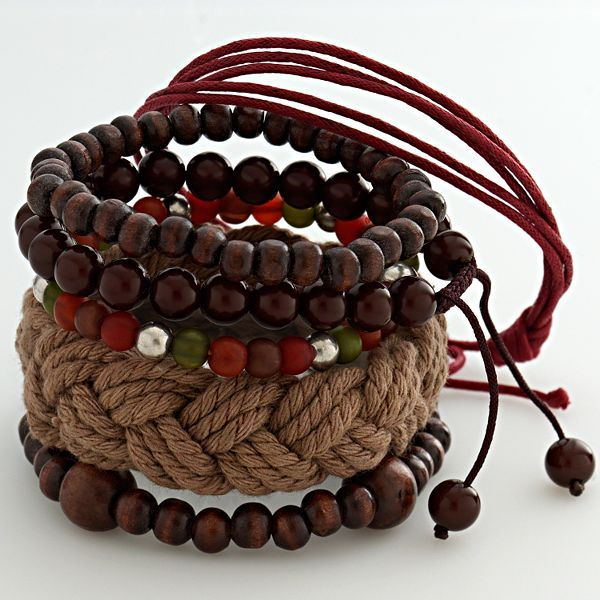 Mudd® silver-tone beaded flex and woven bracelet set