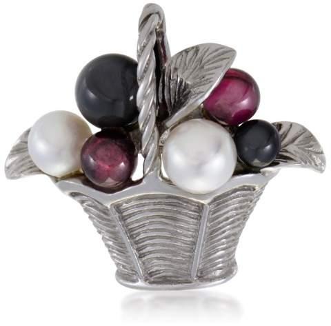 Van Cleef & ArpelsVan Cleef & Arpels 18K White Gold Pearl Tourmaline and Onyx Basket Pin