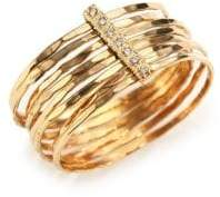 Jacquie Aiche Diamond& 14K Yellow Gold Hammered Bar Ring