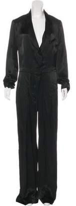 Urban Zen Notch-Lapel Button-Up Jumpsuit