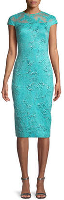 Theia Metallic Illusion-Yoke Sheath Dress