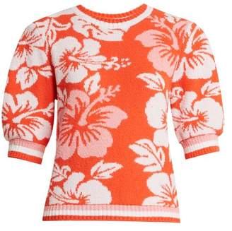 MSGM Hawaiian Print Terry Towelling Sweatshirt - Womens - Red Multi