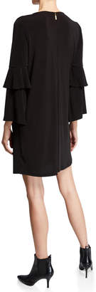 MICHAEL Michael Kors Chain-Neck Ruffle-Sleeve Shift Dress