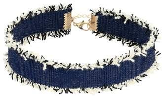 Steve Madden Dark Blue Denim Frayed Choker Necklace Necklace