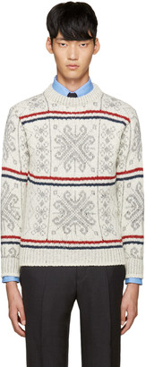 Thom Browne Ivory Fair Isle Sweater $620 thestylecure.com
