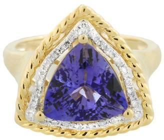 3.75 ct Trillion Cut Tanzanite and Diamond Ring14K Gold