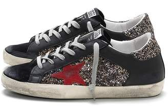 51da018319b33 Golden Goose Superstar Sneaker in Silver Gold Glitter Red Star