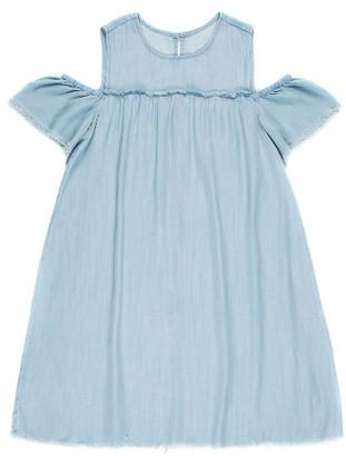 Girl's Tractr Cold Shoulder Chambray Dress $38 thestylecure.com