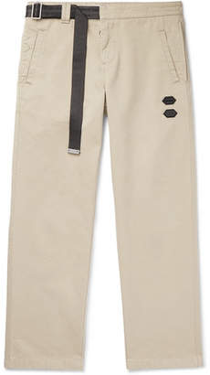 Off-White Off White Belted Logo-trimmed Cotton-twill Chinos - Beige