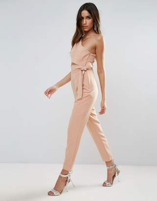 Asos Design One Shoulder Jumpsuit with Knot Detail