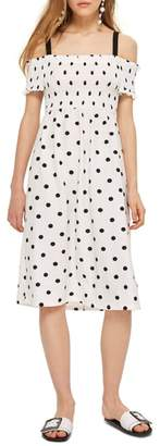 Topshop Spot Shirred Strappy Midi Dress