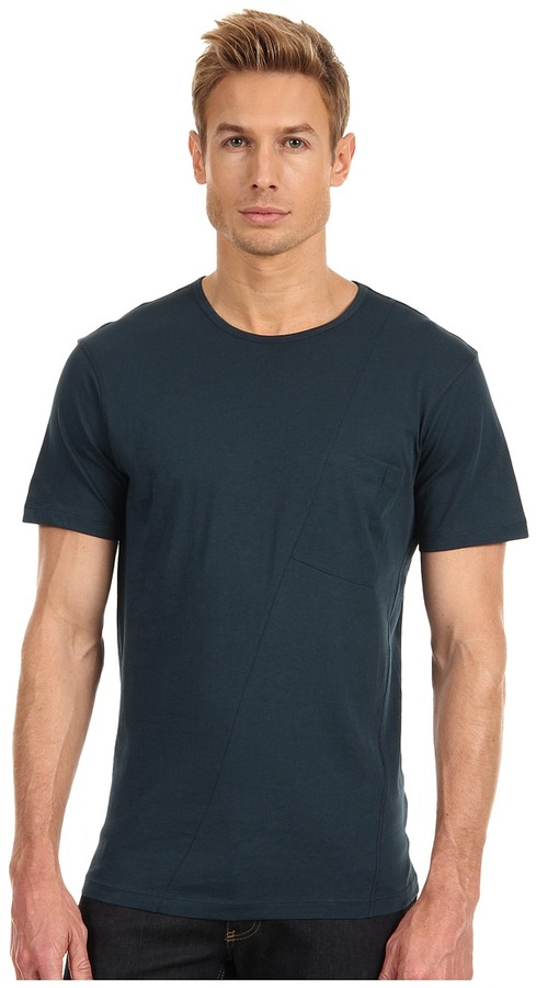 McQ by Alexander McQueen Twisted Pocket Voile Jersey Tee (Petrol) - Apparel