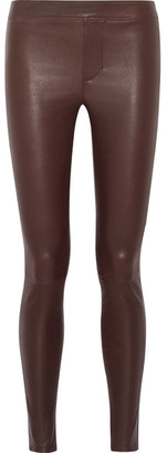 Helmut Lang - Stretch-leather Leggings - Burgundy $920 thestylecure.com
