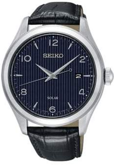 Seiko Blue Dial Croc-Embossed Leather Solar Watch
