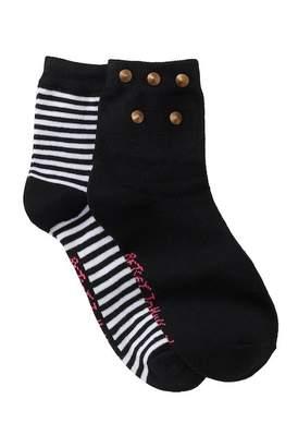 Betsey Johnson Spike & Stripe Anklet Socks - Pack of 2