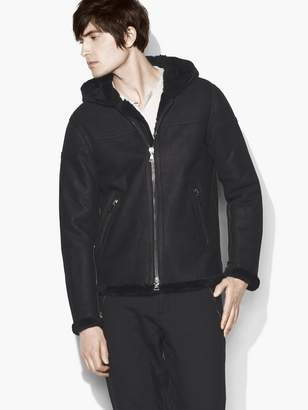 John Varvatos Zip Front Hooded Shearling Jacket With Taping Deta