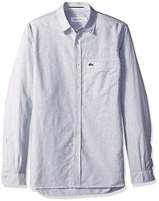 Lacoste Men's Long Sleeve Button Down Stripe Collar Regular Fit Woven Shirt