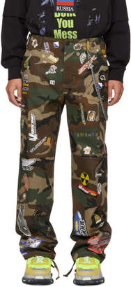 Vetements Green Camo Sticker Cargo Pants