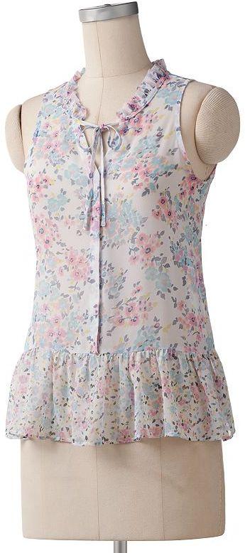 Lc lauren conrad floral chiffon blouse
