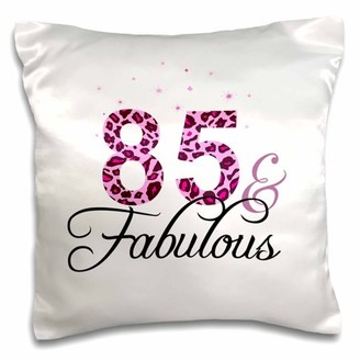 3dRose 85 and Fabulous - fun girly birthday gift - black and hot pink leopard print pattern bday diva text, Pillow Case, 16 by 16-inch