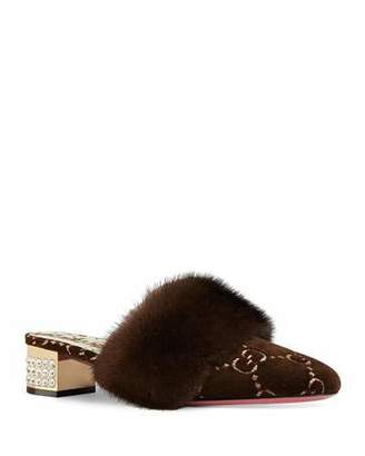 e8b1ab5ccb2 Gucci 35mm Candy Velvet GG Mule With Fur Trim