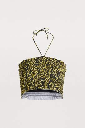 Ganni Smocked bikini top
