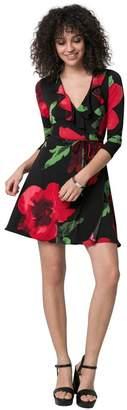 Le Château Women's Floral Print Knit Wrap-Like Mini Dress,XS,Black/Red