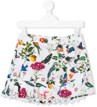 Oscar de la Renta Kids botanical birds print skirt
