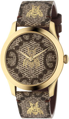 Gucci 38MM G-Timeless Bee Print Watch in Beige & Gold | FWRD