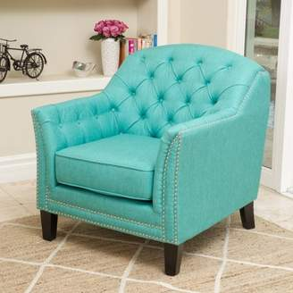 Noble House Lorenzo Teal Fabric Club Chair