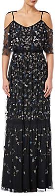 Adrianna Papell Petite Beaded Long Dress, Black