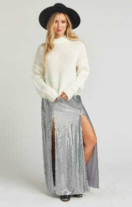 Show Me Your Mumu Mick Double Slit Skirt ~ Silver Sequins
