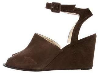 Robert Clergerie Suede Ankle Strap Wedges
