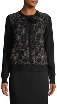 Oscar de la Renta Women's Wool-Silk Tie Cardigan