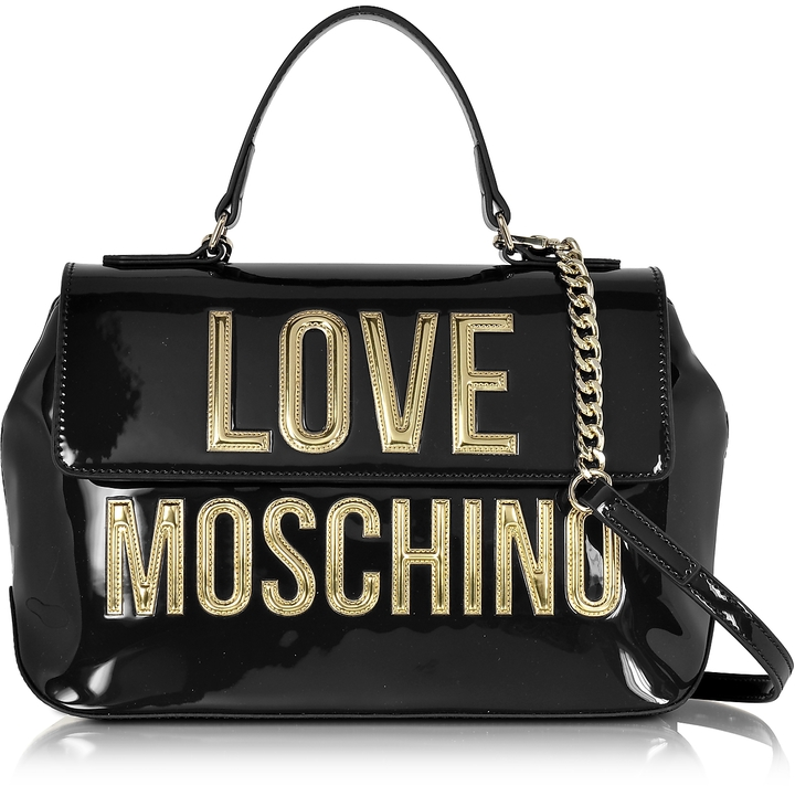 Love Moschino Love Moschino Patent Eco Leather Shoulder Bag w/Signature Logo