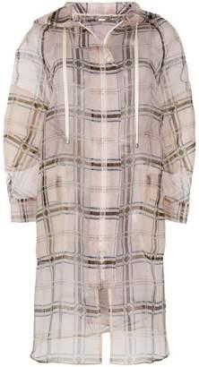 Fendi zipped sheer plaid coat
