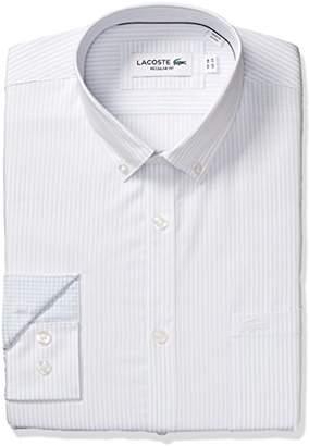 Lacoste Men's Long Sleeve with Pocket Poplin Mini Stripe Regular Fit Woven Shirt