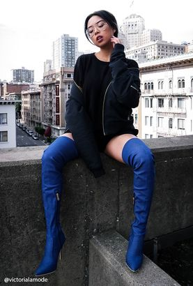 FOREVER 21+ Denim Thigh-High Boots $48 thestylecure.com