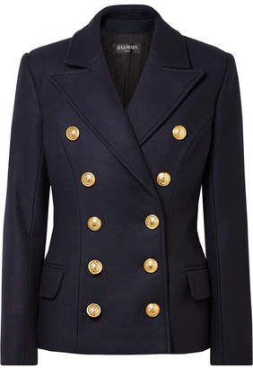 Balmain Double-breasted Wool And Cashmere Blend Coat - Navy