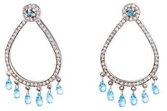 14K Diamond & Topaz Drop Earrings