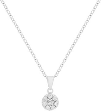 Lumineux Ladies Diamond Accent Round Pendant in Sterling Silver