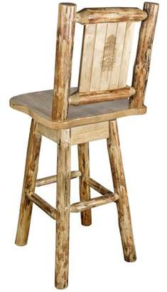 Montana Woodworks Glacier Country Collection Barstool w/ Back & Swivel w/ Laser Engraved Pine Tree Design