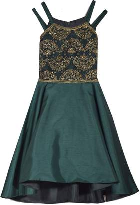 Iris & Ivy Glitter Mesh Bodice High/Low Dress