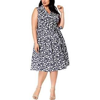 Anne Klein Women's Size Plus Printed Notch Collar WRAP Dress