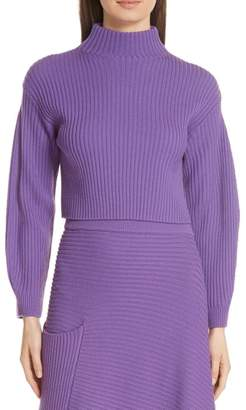 Tibi Structured Merino Wool Crop Sweater