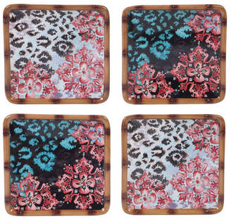 Certified International Exotic Jungle 4-Pc. Canape Plates asst.